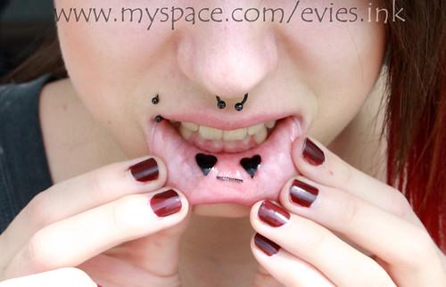 inner lip tattoo. inner lip tattoo