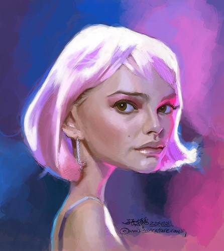 Natalie Portman caricature sketch study - 2