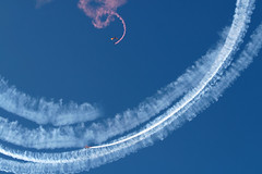 Curly Wurly (peasap) Tags: california ca blue red sky white usmc skydiving spiral divers sandiego smoke trails explore marines miramar parachute parachutist blueribbonwinner miramarairshow