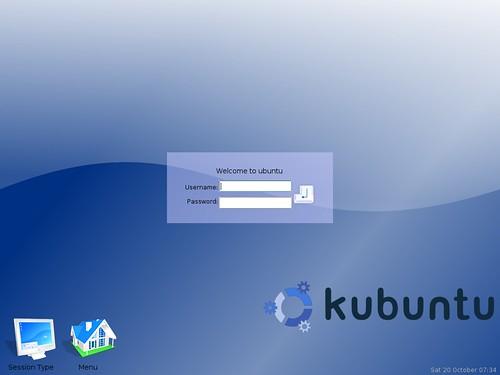 le joli écran de connexion de Kubuntu 5.04