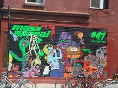 Art in Williamsburg, Brooklyn (margaret mendel) Tags: street streetart newyork green brooklyn grafitti bikes 47 purplepeopleeater ithink bloodred massappeal amagazine
