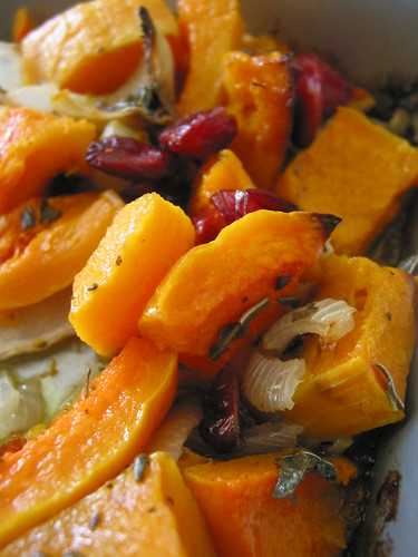 Roasted butternut squash, onions and cranberries and a dash of kosher salt
