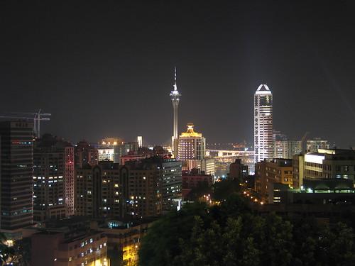 Vista nocturna de Macao