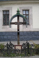 Roadside shrine outside church - Chiinu (jrozwado) Tags: church shrine europe cross traditional jesus orthodox chisinau moldova ethnography folkculture