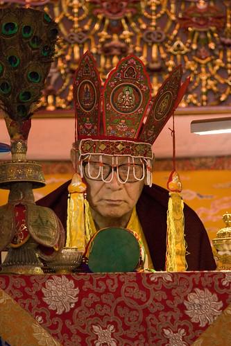 His Holiness Dagchen Sakya Rinpoche, wearing crown, Lam Dre, Tharlam Monastery, Boudha, Kathmandu, Nepal by Wonderlane