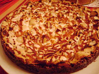 marshmallow, coconut, and chocolate pie