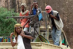 Somali fighters on a Technical