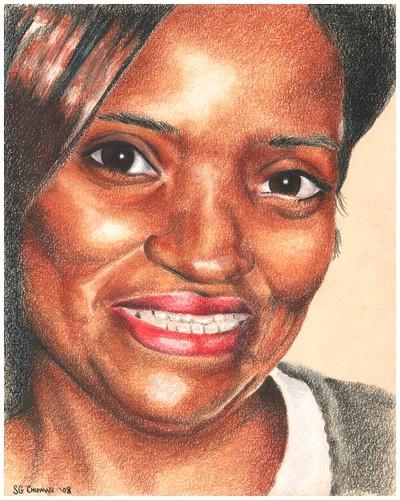 Colored pencil portrait entitled Debbie
