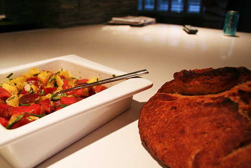 fresh baked bread w/heirloom tomatoes
