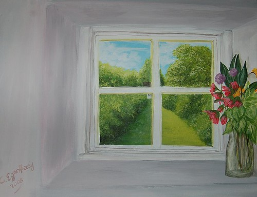 Through the Cottage Window - Painted in Acrylic