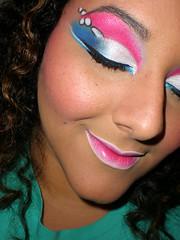 Graffitti (anilorac186) Tags: pink blue white eye teal copycat makeup dramatic rosa bubbles lips ojos graffitti azalea eyeliner maquillaje makeupchallenge