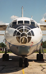 RA-13392 Antonov AN-12BK of Aerostars (Dave Russell (700k views)) Tags: an12bk 12bk bk ra13392 13392 cccp cccp13392 antonov an an12 aircraft aeroplane plane airplane vehicle transport cargo freight freighter flying aviation aero moscow russia russian domodedovo airport apron parked prop propeller turbo turboprop nose close up closeup outdoor glazed