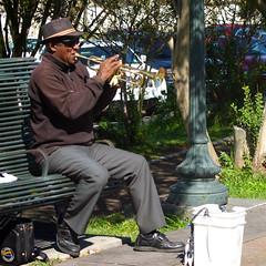 Street Jazz (Terryryan1) Tags: neworleans streetmusician horn bench bucket lamppost hat benchmonday