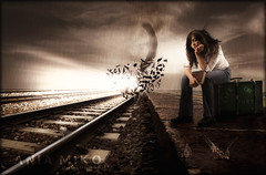 Desolation Station (Poe Tatum) Tags: life woman storm girl rain composite female train photoshop dark hair book photoshopped tracks windy manipulation jeans lowkey tornado edit desolation aliceinwonderland melencholy composited