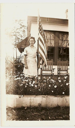 Wilma Tiernan with flag