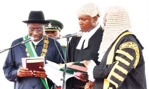 Nigerian President Goodluck Jonathan is sworn in for a four year term as leader of Africa's most populous oil-rich state. Over 30 international delegations attended the event. by Pan-African News Wire File Photos