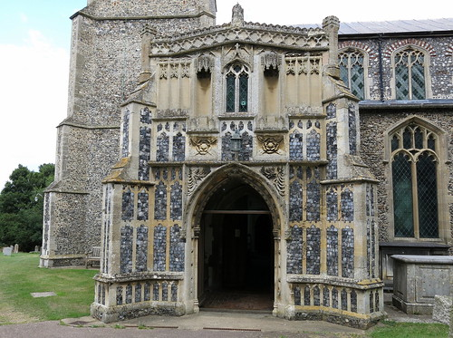 The south porch (c.1420), the Church of St Peter and St Paul, Fressingfield, Suffolk, England
