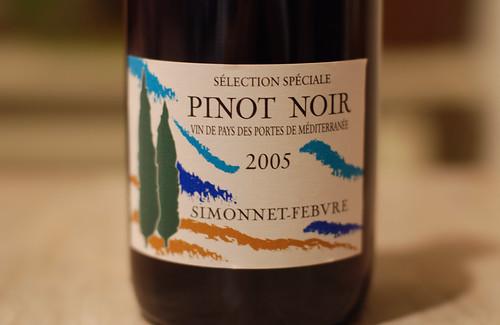 2005 Simonnet-Febvre Pinot Noir Vin de Pays des Portes de la Méditerranée