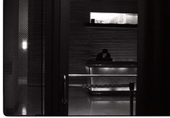 Hotel Lobby Man (doublecappuccino) Tags: sf film eos30 october5th minimixr dottiefest neopan400vodkabartrixpushed2street