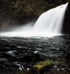 the sport of winter waterfalling (manyfires) Tags: oregon waterfall nikon pacificnorthwest buttecreek buttecreekfalls upperbuttecreekfalls icouldbarelyusemyfingersafteraboutfiveminutesofshootingtheywerethatnumb thisisacompositeofaboutfourimages