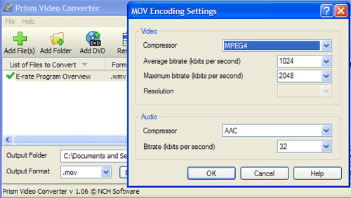 Video encoder settings for Prism Software