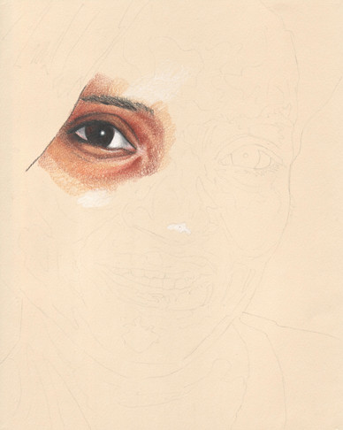 In progress scan of a colored pencil drawing.
