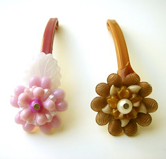 Purple and Brown Vintage Flowers Barrettes