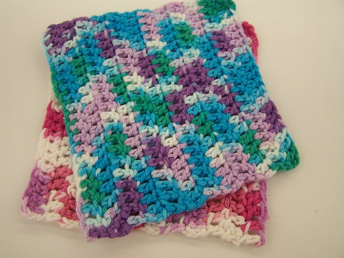 Crochet Stitches Washcloths : ... the hook size if you have trouble getting the hook into the stitches