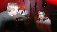 Host Steve Nelson & D+D producer Carrie Miller (Fred Seibert) Tags: newyork postcard event postcards animation jam 2008 cartoons animator drinkinganddrawing frederator danmeth jaredroessler drinkingdrawing