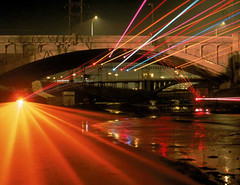 Sculpture of Light, Laser Installation, Los Angeles River, 1998.