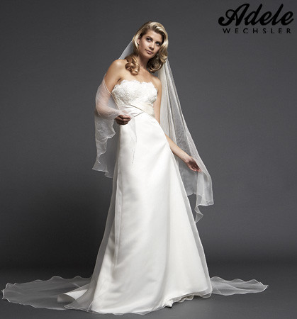 Adele wechsler white satin wedding dress