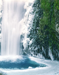 Cold feet at Multnomah Falls (Zeb Andrews) Tags: blue winter cold green film ice oregon landscape frozen waterfall pacificnorthwest multnomahfalls fallingwater columbiarivergorge pentax6x7 bluemooncamera zebandrews notaswimminghole zebandrewsphotography