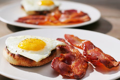 Egg and Bacon Breakfast (briancweed) Tags: morning red two hot english yellow breakfast pepper bacon flavor egg meat delicious pork meal fatty plates muffin fried strips yolk toasted hearty spiced breaky