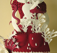 Paper Sculpture (red and white, detail) (Elsita (Elsa Mora)) Tags: flowers original red sculpture woman white texture nature colors girl leaves fashion paper one doll dress handmade cut snake decorative surreal scene kind etsy elsa mora elsita