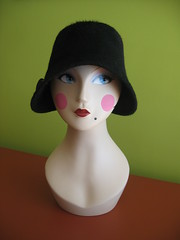 Mimi with black cloche front view