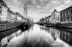 -Nyhavn- (Erik_Chavez) Tags: reflection denmark nyhavn sony hdr blackwhite cityscape waterscape boat view travel copenhagen
