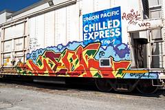 (everkamp) Tags: seattle railroad graffiti washington trains etc unionpacific freight reefer mech rollingstock chilledexpress armn railart benching xvc