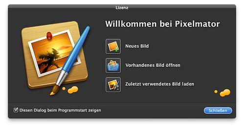 Pixelmator Willkommensbildschirm