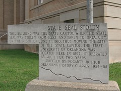 State Seal Stolen - First State Capitol - Guthrie, OK
