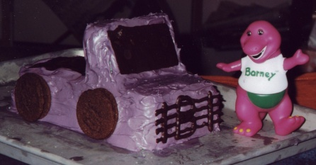 A purple 'Barney' truck (it was an 'in' joke at the time)