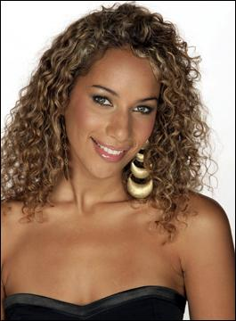 Celebrity Leona Lewis long blonde curly hairstyle