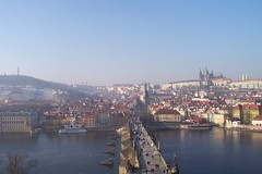 Vltava river and bridge from Prague (Alexanyan) Tags: travel bridge castle river europe czech prague cathedral praha praga bohemia vltava republika ceska