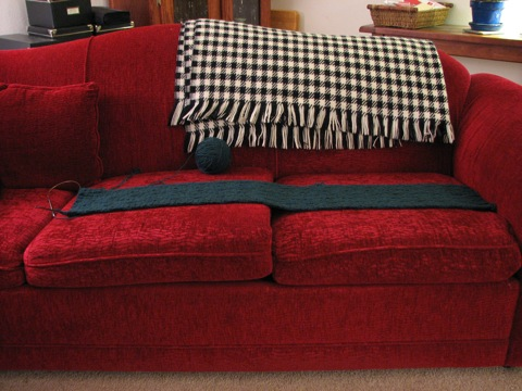 M's scarf at 2 cushions.JPG