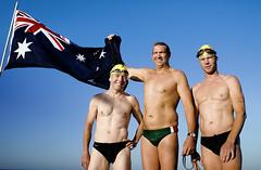 National Pride (sengsta) Tags: beach swimming flag caps australian goggles swimmers aussies australianflag scarboroughbeach openwaterswim australiaday2008