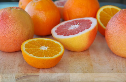 fresh grapefruits and oranges
