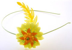 Yellow, Orange and Green Vintage Flowers Headband