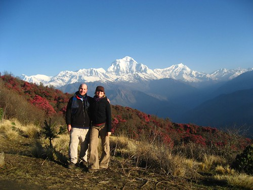 Me and Gela with rhodedendrons and Dhalagiri in the background