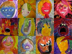 abstract expressionism. according to 10 year olds. (artsy_T) Tags: art kids portraits paint paintings expressions 5thgrade kidart elementary tempera abstractexpressionism elementaryartroom