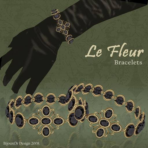 Gold Le Fleur bracelet black