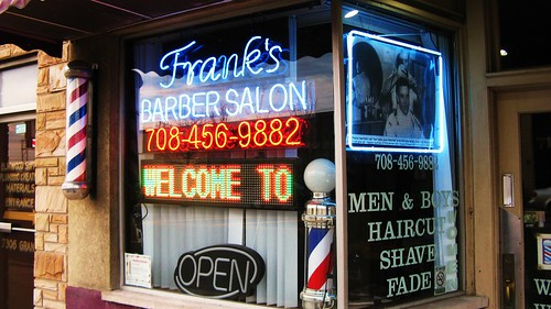 Frank's Barber Shop on Grand Avenue. Elmwood Park Illinois USA.  May 2011. by Eddie from Chicago